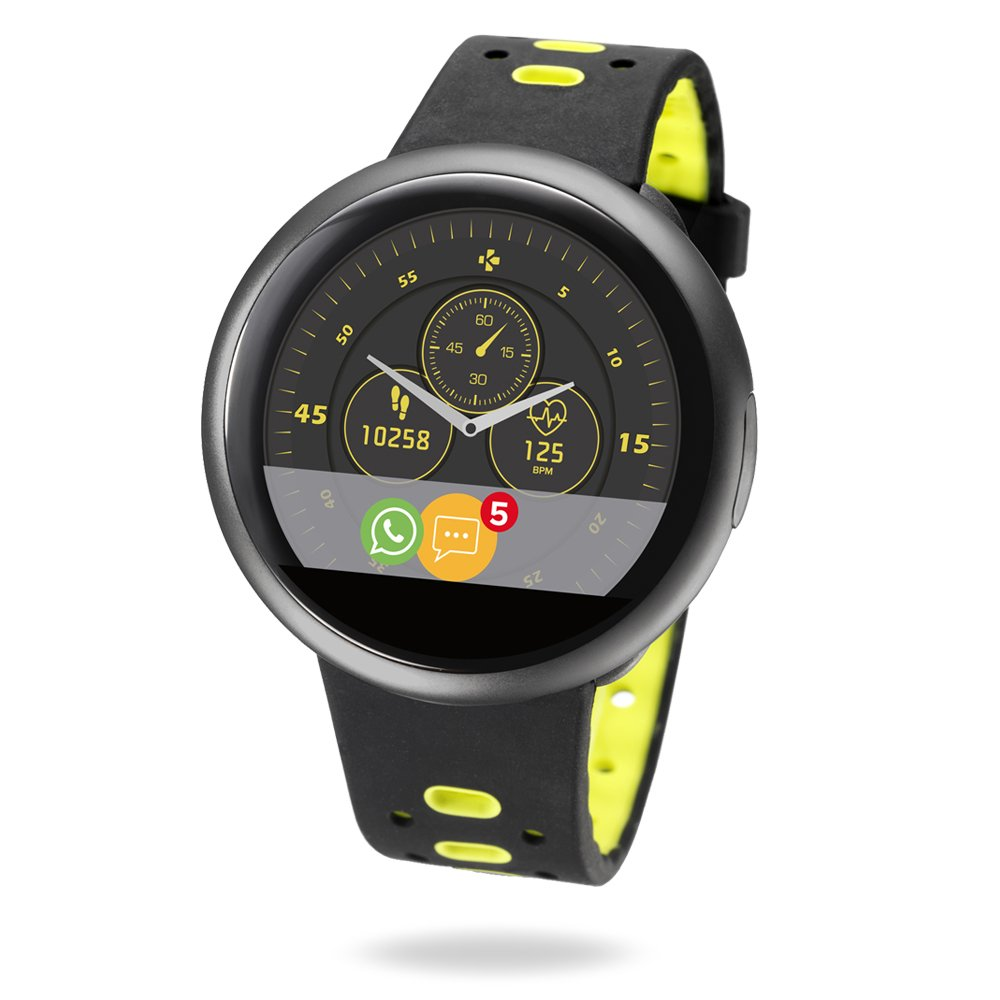 MyKronoz ZeRound2 HR Premium Smartwatch with Heart Rate Monitoring and Smart Notifications, Swiss Design, iOS and Android - Brushed Black / Black and Yellow Silicone Band