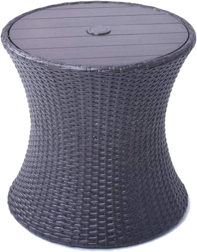 allen roth Round Steel Brown Wicker End Table with Umbrella Hole, 20 W x 19.88 H