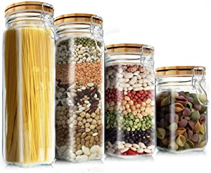 Cereal Container Set, Elegant Life 4Pcs Food Storage Container Kitchen Storage Jars with Lids Airtight Seal Jar Clamp Caps Glass Canister for Flour/Sugar/Beans/Spice/Oats 5.5L