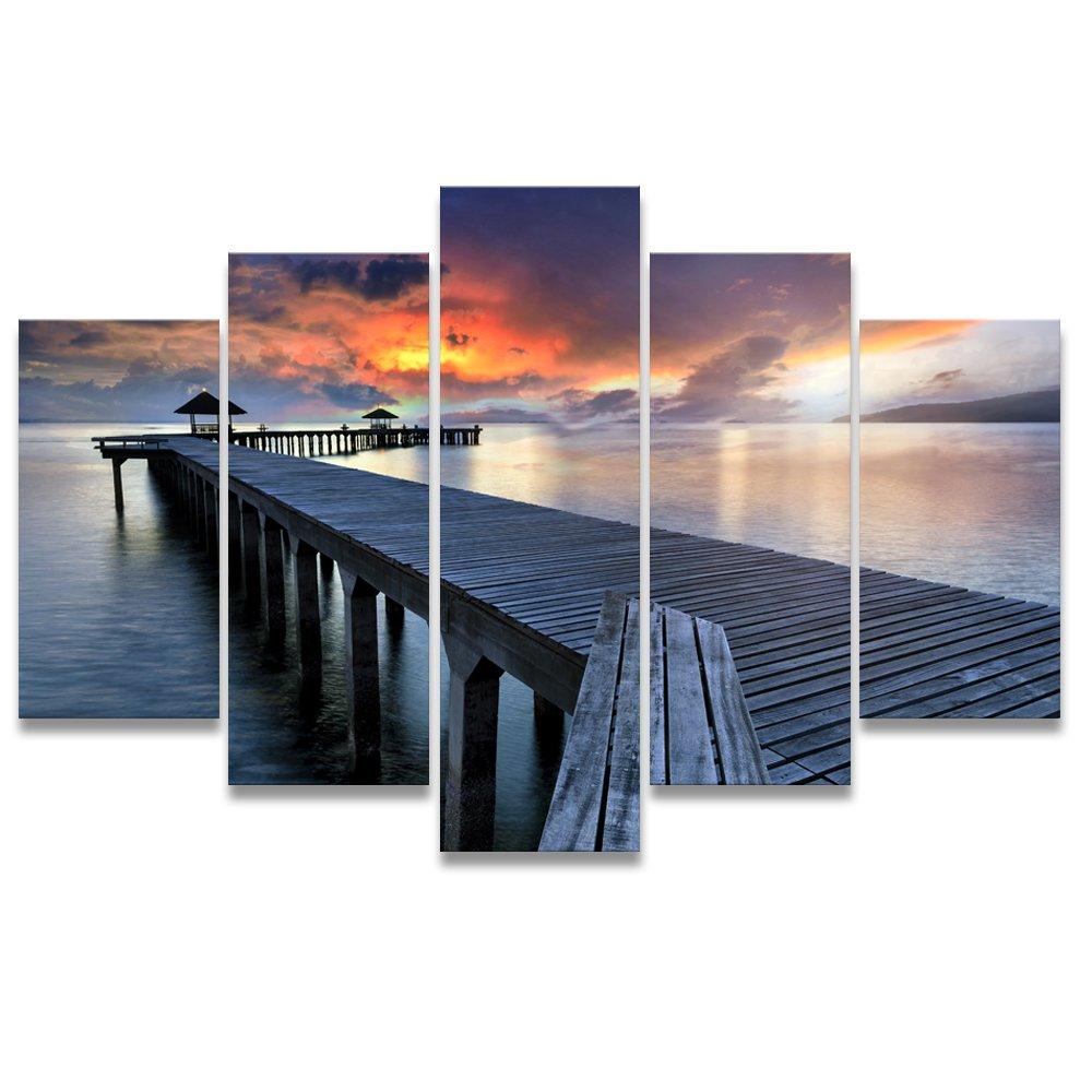 【リブラLibra】 5パネルセット アートパネル インテリアアート 海の景色 キャンバス絵画 (木枠付きの完成品) (S, RA0639) B078VR56SK Small|RA0639 RA0639 Small