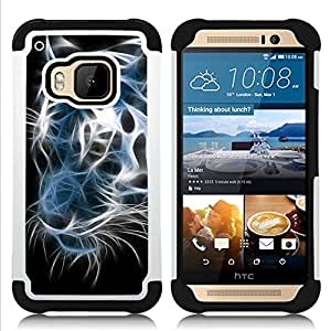 - iridescent tiger black white neon/ H??brido 3in1 Deluxe Impreso duro Soft Alto Impacto caja de la armadura Defender - SHIMIN CAO - For HTC ONE M9