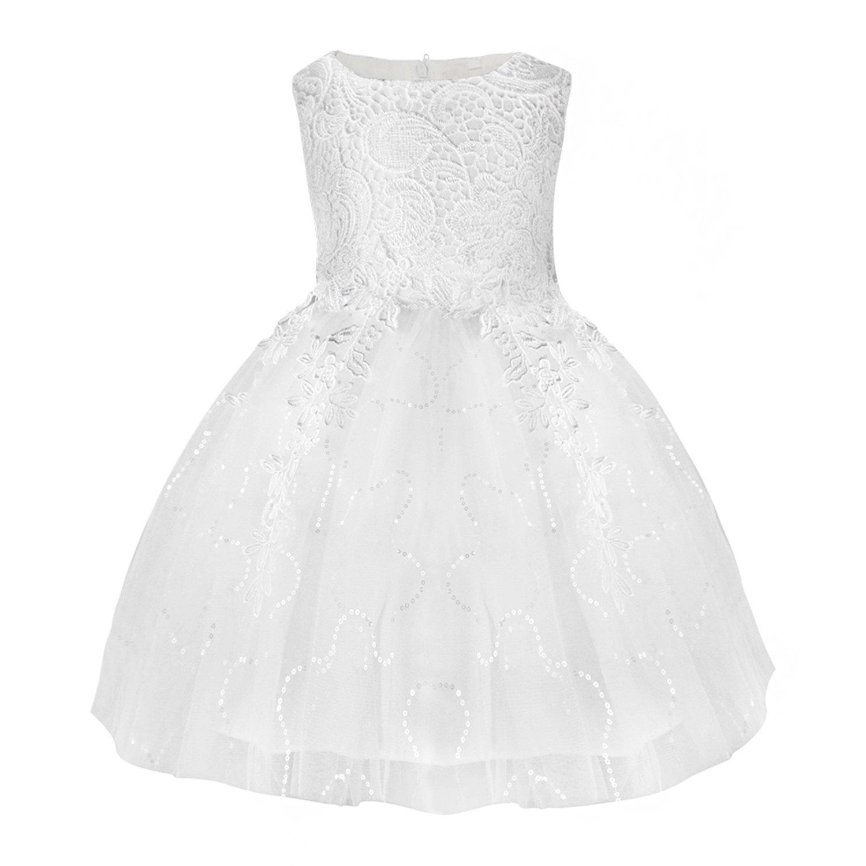 SKST Flower Girl Dress Lace Knee-Length Tutu Wedding Birthday Party Princess Skirt For Toddler Baby (5)