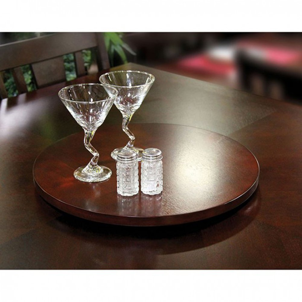 Furniture of America CM-AC3210-CH Susie Espresso Lazy Susan Miscellaneous-Others by Furniture of America (Image #1)