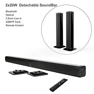 Samtronic 40W Detachable Soundbar TV Speaker, Flat Screen TV Sound Bar Wired & Wireless Bluetooth Sound Bars with Stereo Audio System 3D Surround Sound System Home Theater Speaker with Remote/Optical
