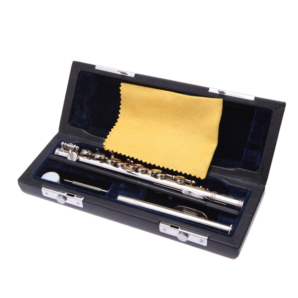 Andoer Piccolo Ottavino Half-size Flute Silver Plated C Key Cupronickel with Cork Grease Cleaning Cloth Screwdriver Padded Box
