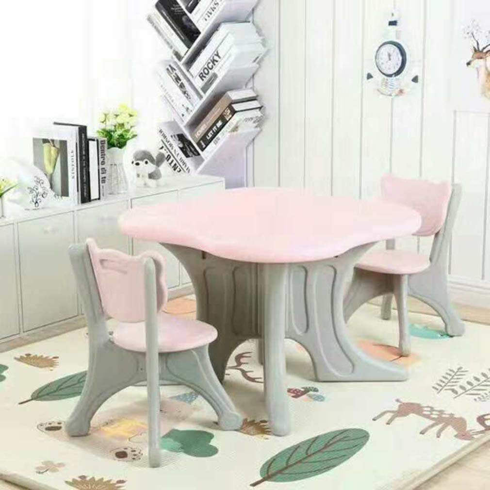 Toytexx Children's Kids Solid Table and 2 Chairs Set-Pink Color