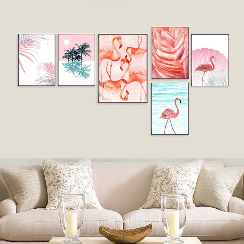 856store Creative Nordic Flamingo Leaves Wall Art Canvas Painting Unframed Home Decor Picture - 3# 30cm x 40cm
