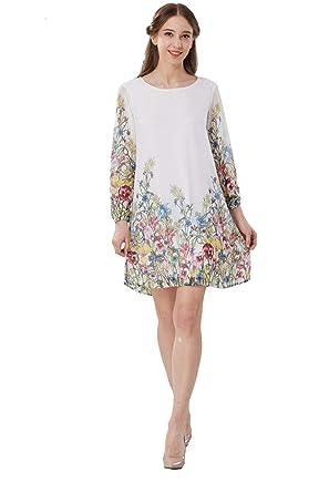 df56d7fd6e7 Landove Femme Robe en Mousseline de Soie Manche Longue Boheme Chic Robe  Imprimé Floral Moulante Sexy