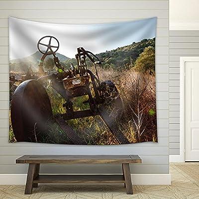 Premium Creation, Dazzling Visual, Antique Farm Equipment and Old Hay Rake at Sunrise Italy Fabric Wall