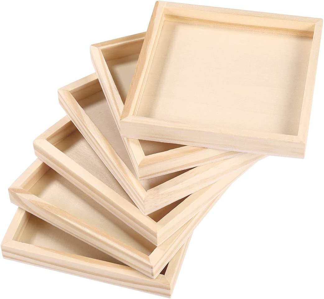 LIOOBO 6pcs Unfinished Wood Serving Tray for Weddings Home Decor and Craft Projects Art Supply