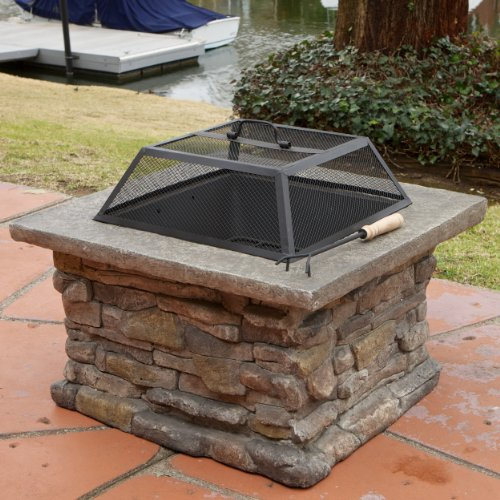 "Elegant 29"" Outdoor Patio Firepit w/Iron Fire Bowl, Stone Base, Mesh Cover"