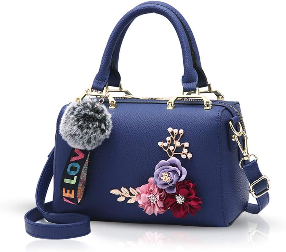 NICOLE & DORIS Bolso para Mujer Bolsos con Asas Superiores Bolsos Florales Bolsos de Hombro con pompón Colgante Bolso Bandolera Bolsos de Mujer Azul