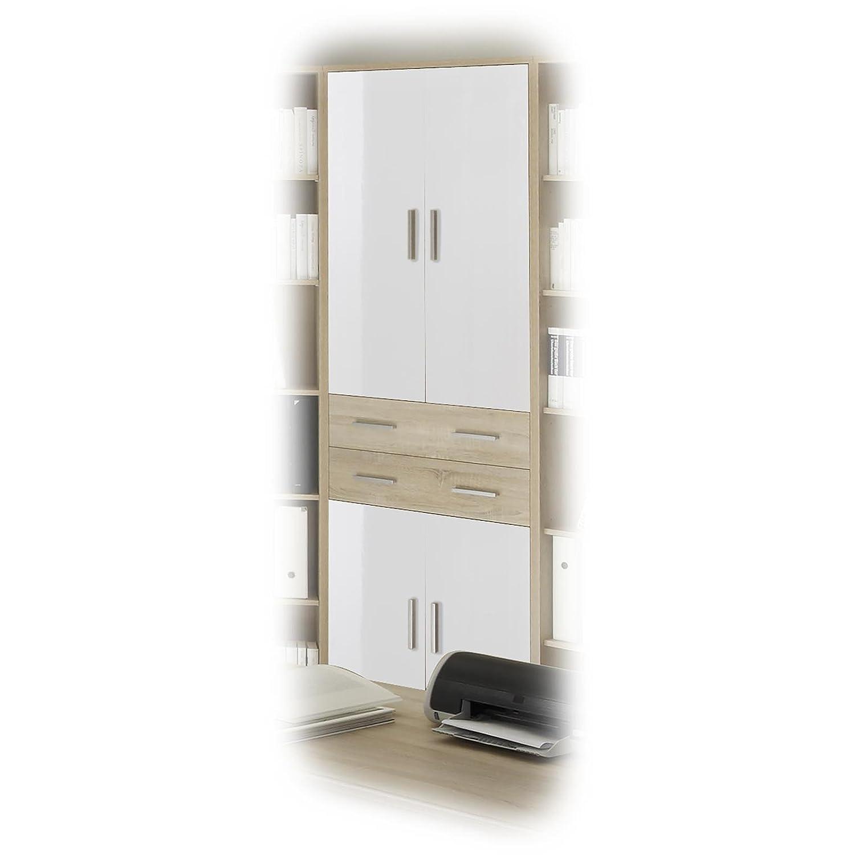 Büroschrank weiß schubladen  Aktenschrank Büroschrank Schrank OLE, Eiche Sonoma/weiss, 4 Türen ...