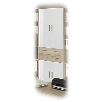 Büroschrank weiß mit türen  CARO-Möbel Aktenschrank Büroschrank Schrank OLE, Eiche Sonoma/weiss ...