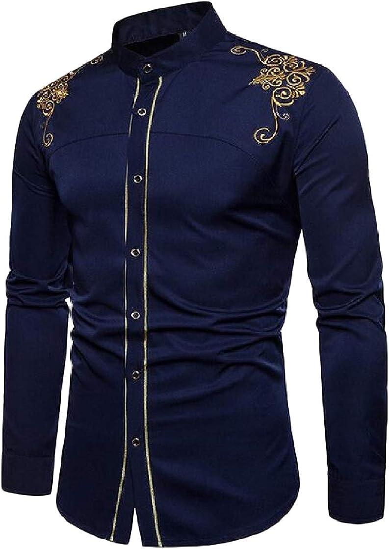 Etecredpow Men Long-Sleeve Jacquard Mandarin Collar Button Front Slim Fit Shirts