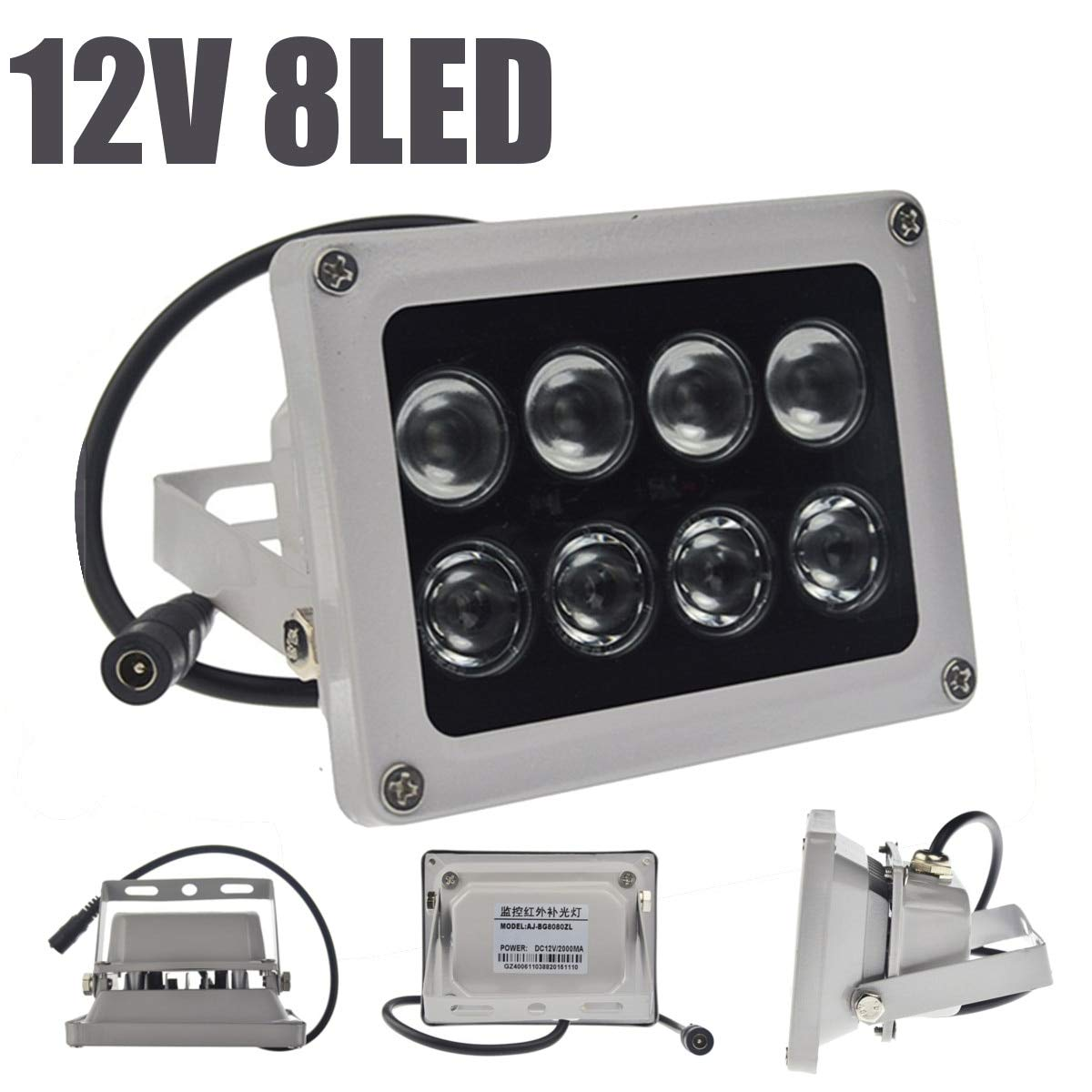 DELAMZ - Infrared Light Lamp 8 LEDs IR Night Vision Wide Angle IP65 Waterproof Fill Light for CCTV Securiy Accessories by DELAMZ