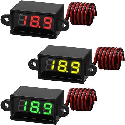 mini voltmètre LED rouge 2 à 30V DC sur deux fils auto alimenté de France