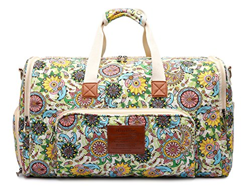 Floral Quilted Bag - Malirona Women Canvas Duffel Bag Weekend Bags for Overnight Trip with Shoes Organizer