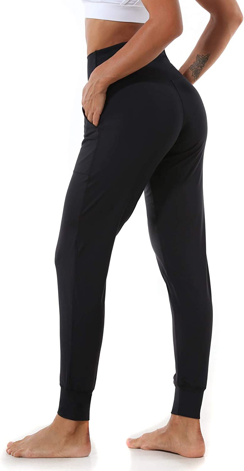 Ritiriko Women's Joggers with Pockets, High Waist Yoga Sports Pants for Running Workout Lounge, Black, Small