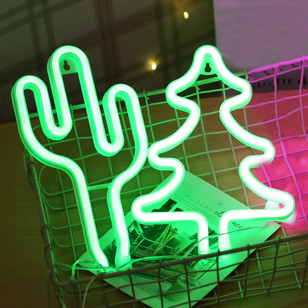 LED Neon Green Tree Sign Art Decorative Lights USB 3-AA Battery Powered Green Tree Night Light Wall Decor Home Wedding Party Decor Kids Room Living Room Decor Holiday Christmas LED Decorative Light
