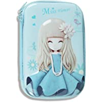 Shivexim® Cartoon Cartoon Art Polyester Pencil Case Organizer School Kids Girls Women Pen Holder Pouch Multipurpose Pencil Box (Miss Flower (Blue))