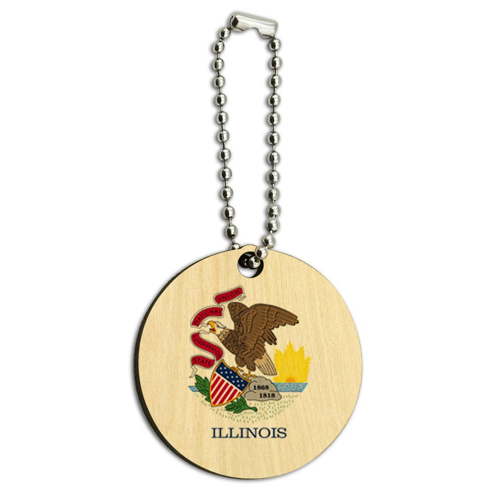 Illinois State Flag Wood Wooden Round Key Chain