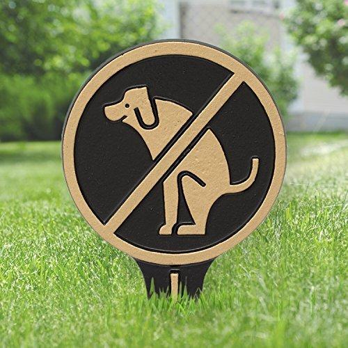 Whitehall No Dog Poop Round Cast Aluminum Yard Sign (Black/Gold) (Whitehall Dog)