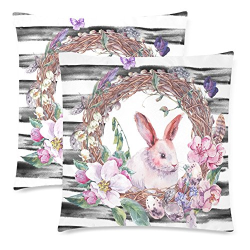 InterestPrint 2 Pack Watercolor Spring Happy Easter Wreath with Rabbit Bunny Throw Cushion Pillow Case Covers 18x18 Twin Sides, Easter Egg Feather and Butterfly Cotton Zippered Pillowcase Sets