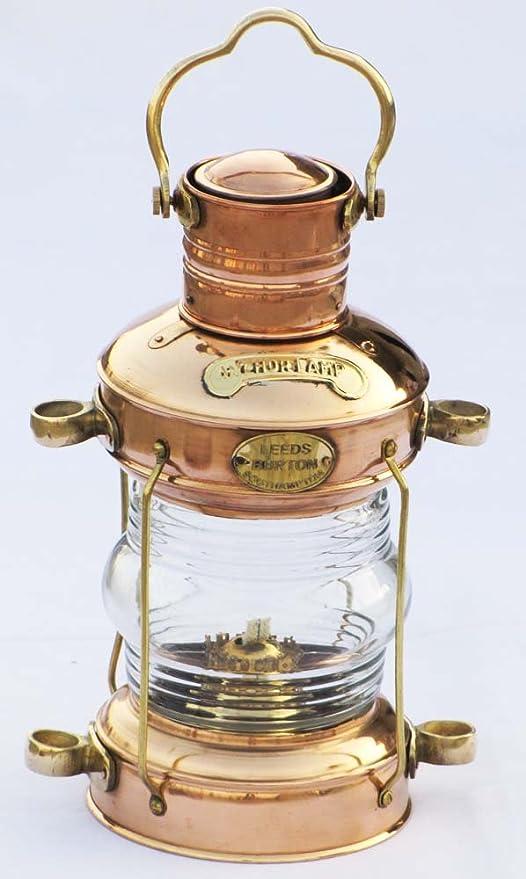 "Antique Vintage Style Brass Vintage Miner Lantern Oil Lamp Maritime 6/"" Collecti"