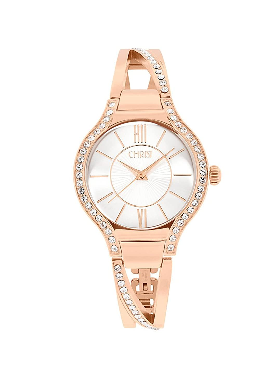 CHRIST times Damen-Armbanduhr Analog Quarz One Size - silberfarben - rosÉ