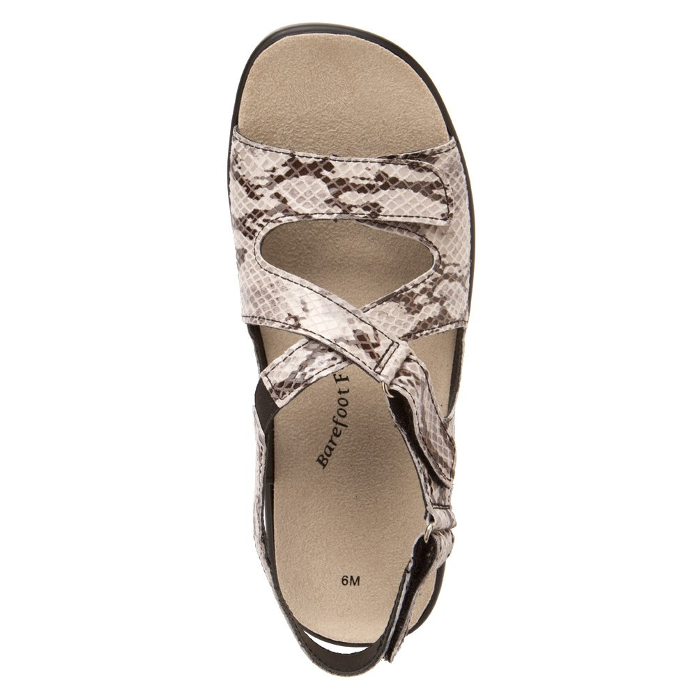 Barefoot Freedom by Drew Abby Women Open Toe Leather Ivory Sandals B00IBD75F6 9 E US|Silver/Black Viper