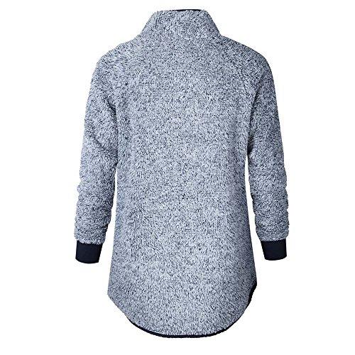 Sweatshirts Sweatshirt 38 Gris 48 Sweats EU Femmes Chaud GongzhuMM Patchwork Polaire Boutons Sweaters Col Femmes Pullover Chandail Pulll avec Femme SaSwIrq