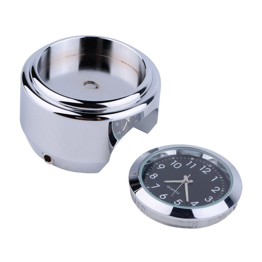 beiguoxia Stainless Steel Waterproof Handlebar Mount Round Dial Clock for Motorbike Motorcycle