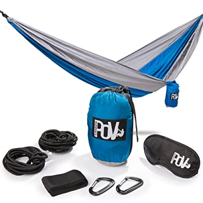 Pov-Outdoors Double Camping Hammock Outdoor And Indoor: Water Resistant Camping Parachute Nylon with 2 Thick Ropes For Tree, 2 Rope Covers, 2 Clips, Carry Bag and Sleep Mask: Sports & Outdoors