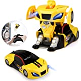 Baztoy Transform Toy Remote Control Car Wall Climbing for Boys Girls Age of 3, 4, 5, 6,7,8-16 Year Old One-Button Deformation 360° Rotating RC Robot Cars with LED Light Intelligent Vehicle .
