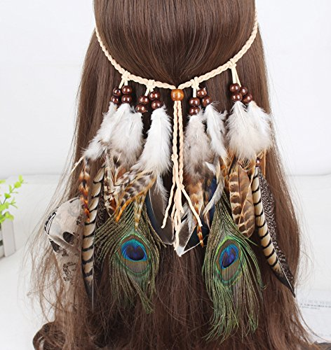 Girls Women Hairband/Headwear Bohemian Style Feather Headdress Indian Hippie Hair Band Headpieces Accessories ()