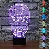 SUPERNIUDB 3D Skull Halloween Skeleton 3D Night Light 7 Color Change LED Table Lamp Xmas Toy Gift For Sale