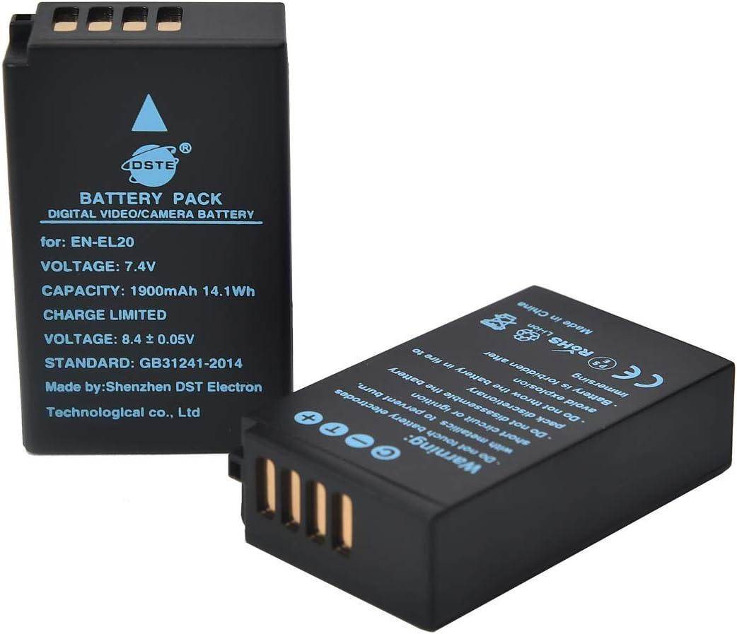 1 AW1 1 V3 DSTE 2 Piezas de Recambio de bateria EN-EL20 Batterie 1 J2 USB Cargador Dual Compatible con Nikon 1 J1 1 J3 1 S1
