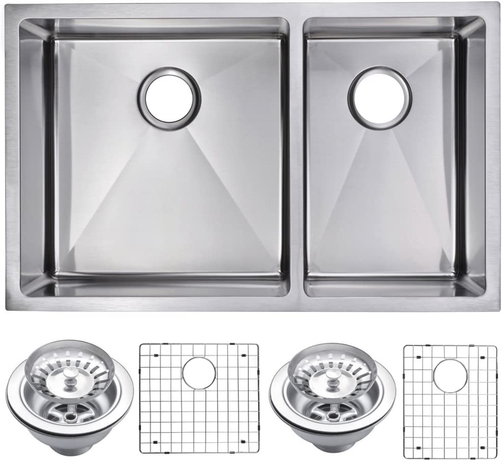 Water Creation SSSG-UD-3220A 33 X 20 15 mm Corner Radius 50 50 Double Bowl Stainless Steel Undermount Kitchen Sink with Drain and Strainers