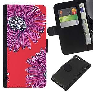 BearCase / Cuero de la tarjeta la carpeta del tirón Smartphone Slots Protección Holder /// Apple Iphone 5C /// Dibujo Rosa Púrpura Mano