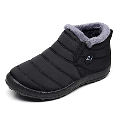 4f5b90124bb9 Mens Snow Boots Waterproof Black Size 7 Men s Winter Boots for Boys Man  Warm Ankle Boots