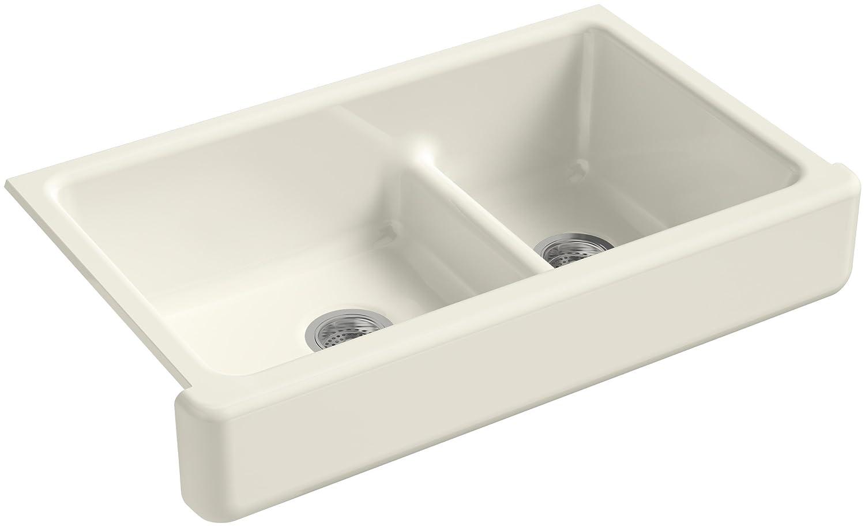 KOHLER K 6426 96 Whitehaven Smart Divide Self Trimming Under Mount  Apron Front Double Bowl Kitchen Sink With Short Apron, 35 1/2 Inch X  21 9/16 Inch X ...