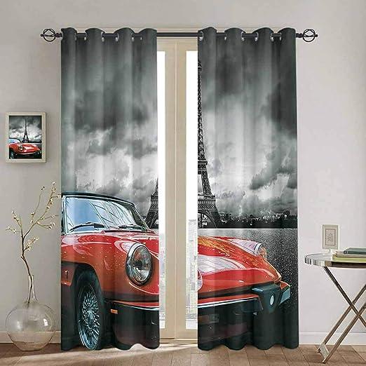 Homrkey - Cortinas para puerta corredera de color rojo y negro ...