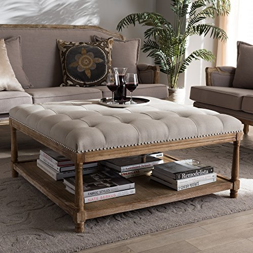(Baxton Studio Square Coffee Table Ottoman in Beige and Weathered Oak Finish)
