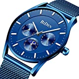 Men's Fashion Minimalist Wrist Watch Ultra-Thin Casual Blue Waterproof Watch Stainless Steel Mesh Belt