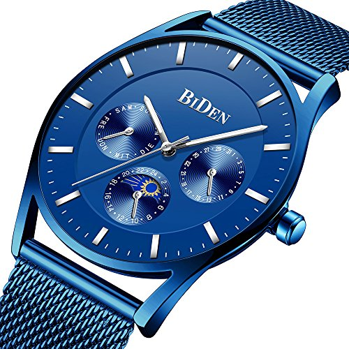 Mens Watches Fashion Casual Wrist Watches for Men Stainless Steel Slim Analog Quartz Men Watch Blue Waterproof Date with Milanese Mesh Band