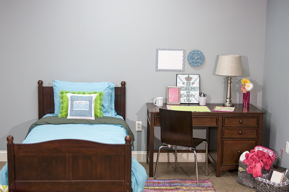 5 Piece Dorm Twin XL Reversible Bed In A Bag with Comforter, Flat Sheet, Fitted Sheet and 2 Pillowcases, Blue & Charcoal