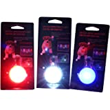 The JazMo Clip on Dog and Cat Collar Safety LED Lights 3 Pack Bundle Red, White and Blue Charm Pendant