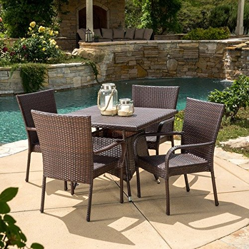 Patio Furniture Dining Set, Patio Dining Set,Wesley 5 Piece Dining Sets,Brown,Wicker Outdoor Dining Set (Company Wesley Furniture)