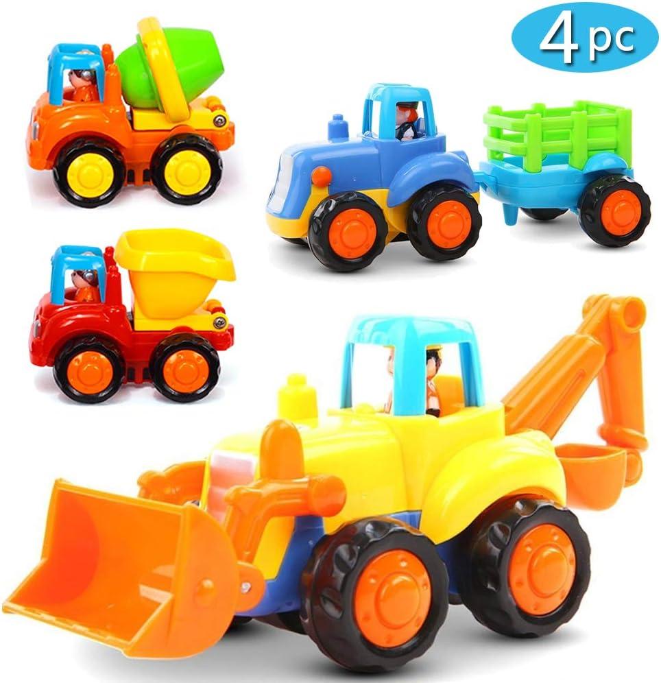 LIVEHITOP Juguete Coche Fricción 4 Piezas - Vehículos de Construcción Push and Go Tractor, Bulldozer, Camión Mezclador y Descargador Educativos Niños 3 Años